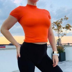 Lands' End Elastic Crop Top hi-Vis Orange Shaper